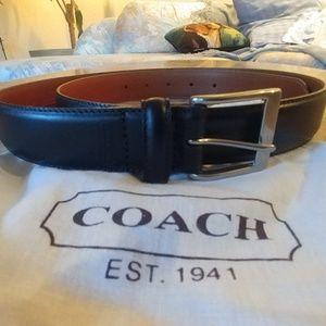 Coach leather mens belt-Black-38